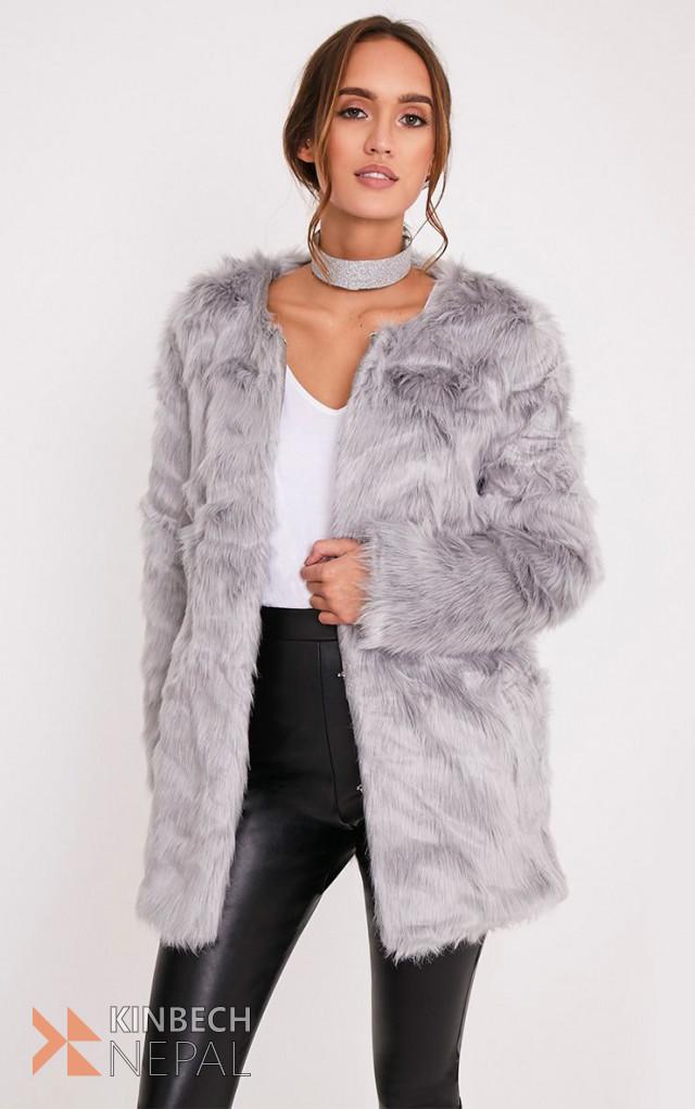 Gray Fur Overcoat | www.kinbechnepal.com