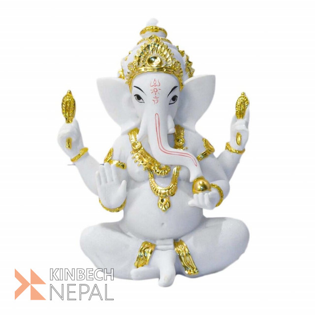Resin Lord Ganesh Statue 7.5 Marble Finish Golden | www.kinbechnepal.com