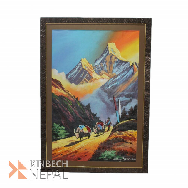Wall Painting With Frame Yak And Mountains | www.kinbechnepal.com