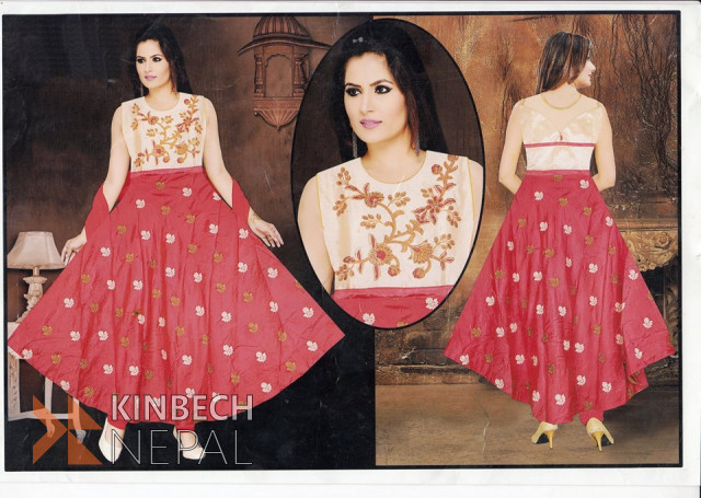 Ladies Gown (Pink and Green Colour Available) | www.kinbechnepal.com