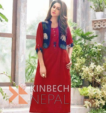 Retro Red & Blue Cotton Linen Kurti with Outer | www.kinbechnepal.com