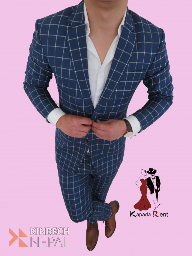 Checkered Blue   www.kinbechnepal.com
