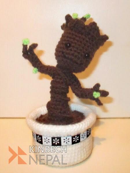 Crochet Groot Keychain | www.kinbechnepal.com