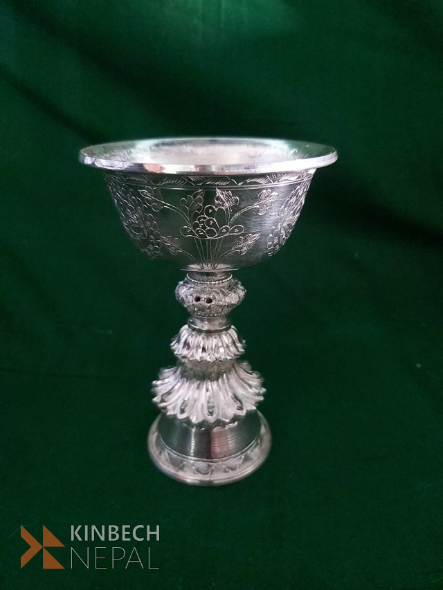 Silver 10 tola butter lamp | www.kinbechnepal.com