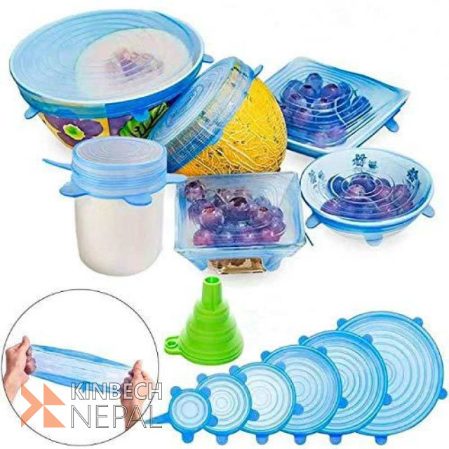 Silicone Super Stretch Lids - 6 Pieces Set | www.kinbechnepal.com
