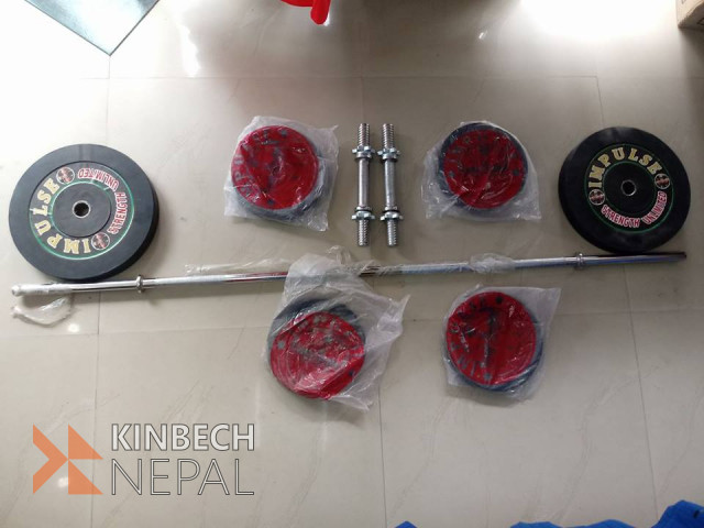 Dumbbell And Barbell Set (Rubber Plates 25 kg) | www.kinbechnepal.com