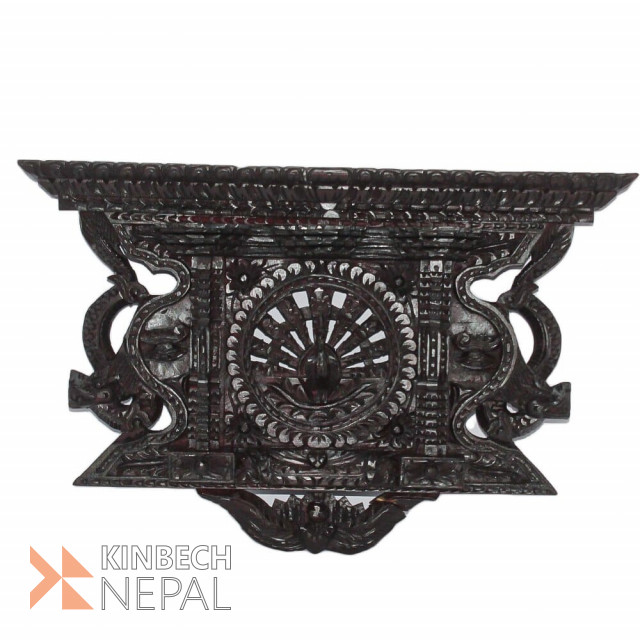 Wooden Carving Peacock Dragon Frame Rosewood Finish | www.kinbechnepal.com