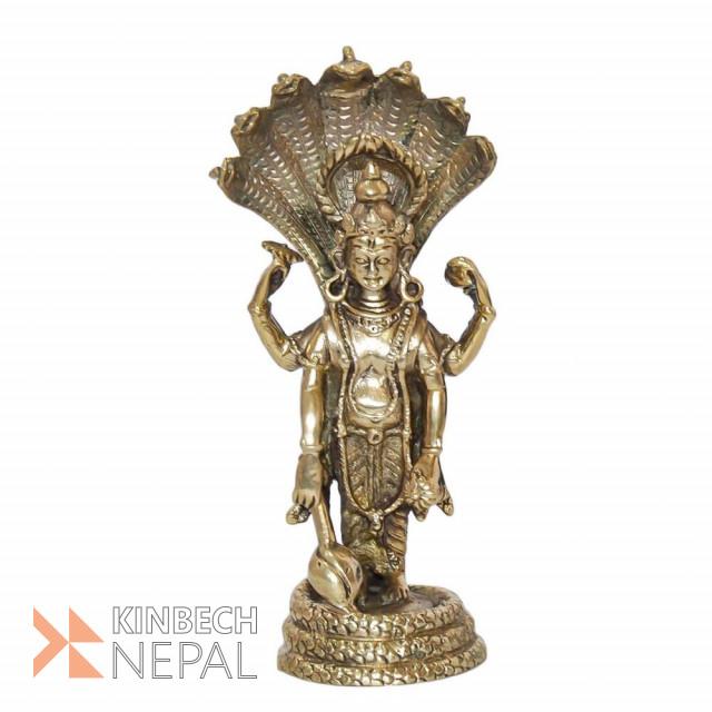 Light Golden Brass Lord Bishnu Statue - 6 | www.kinbechnepal.com