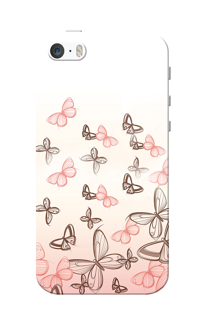 Caseria Pink Butterfly White Slim Fit Hard Case Cover for Apple iPhone 5/5s