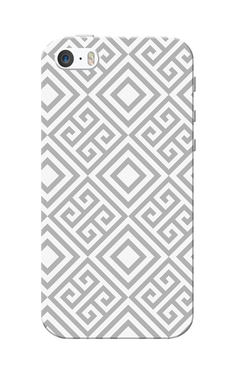 Caseria Grey Square Pattern White Slim Fit Hard Case Cover for Apple iPhone 5/5s