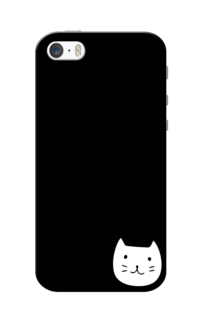 Caseria White Kittie Black Slim Fit Hard Case Cover for Apple iPhone 5/5s
