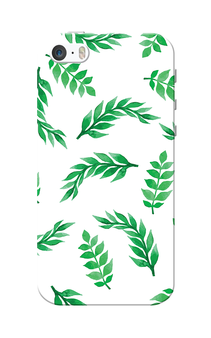 Caseria Green Leafs White Slim Fit Hard Case Cover for Apple iPhone 5/5s