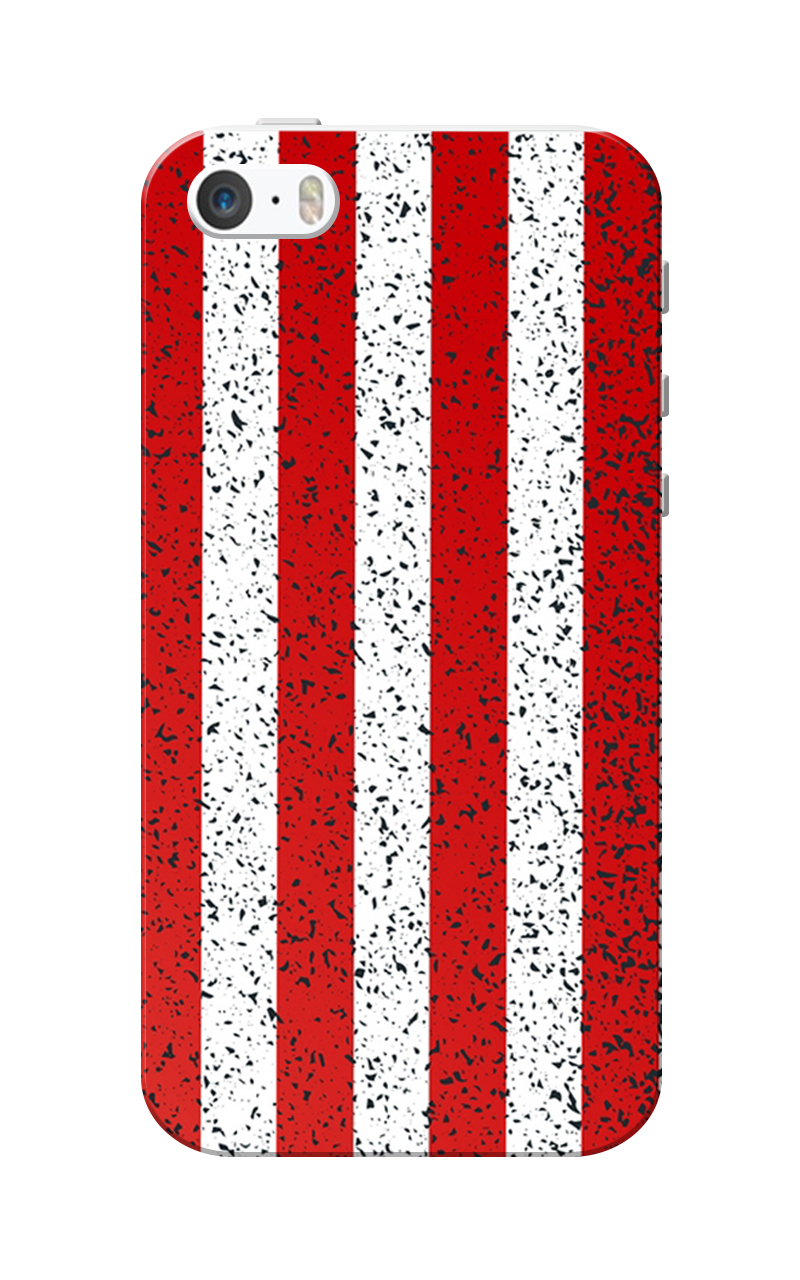 Caseria Red-White Strips Slim Fit Hard Case Cover for Apple iPhone 5/5s