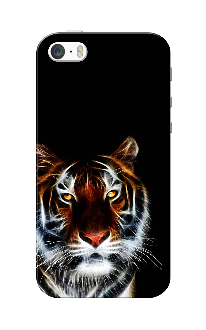 Caseria Tiger Black Slim Fit Hard Case Cover for Apple iPhone 5/5s