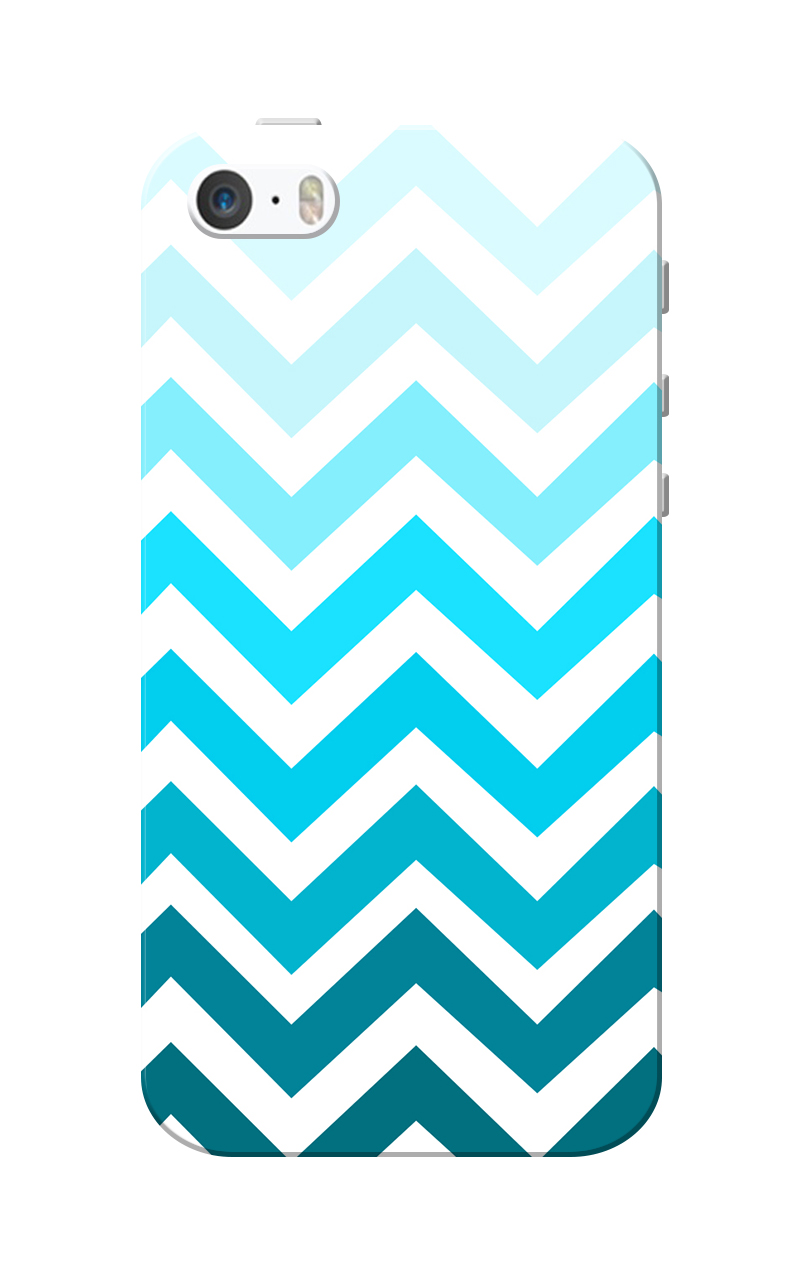 Caseria Blue Zigzag White Slim Fit Hard Case Cover for Apple iPhone 5/5s