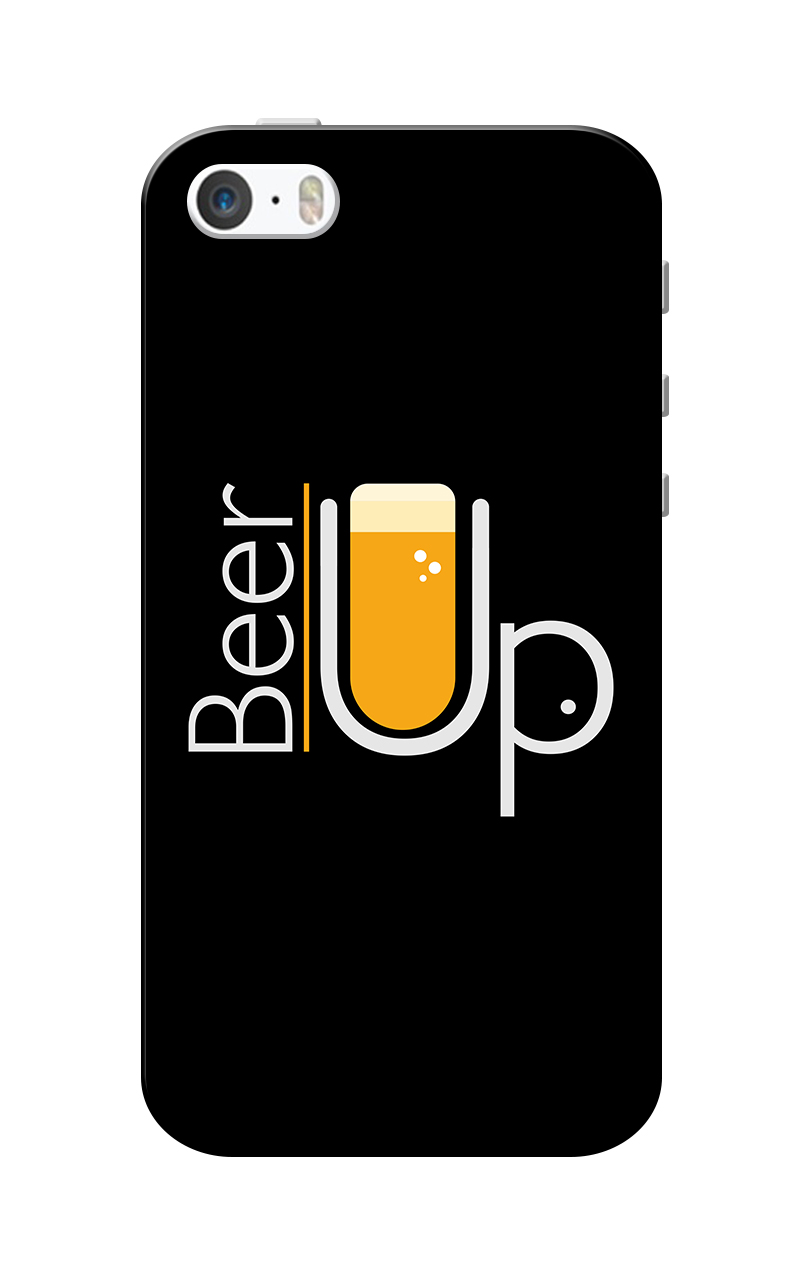 Caseria Beer Up Black Slim Fit Hard Case Cover for Apple iPhone 5/5s