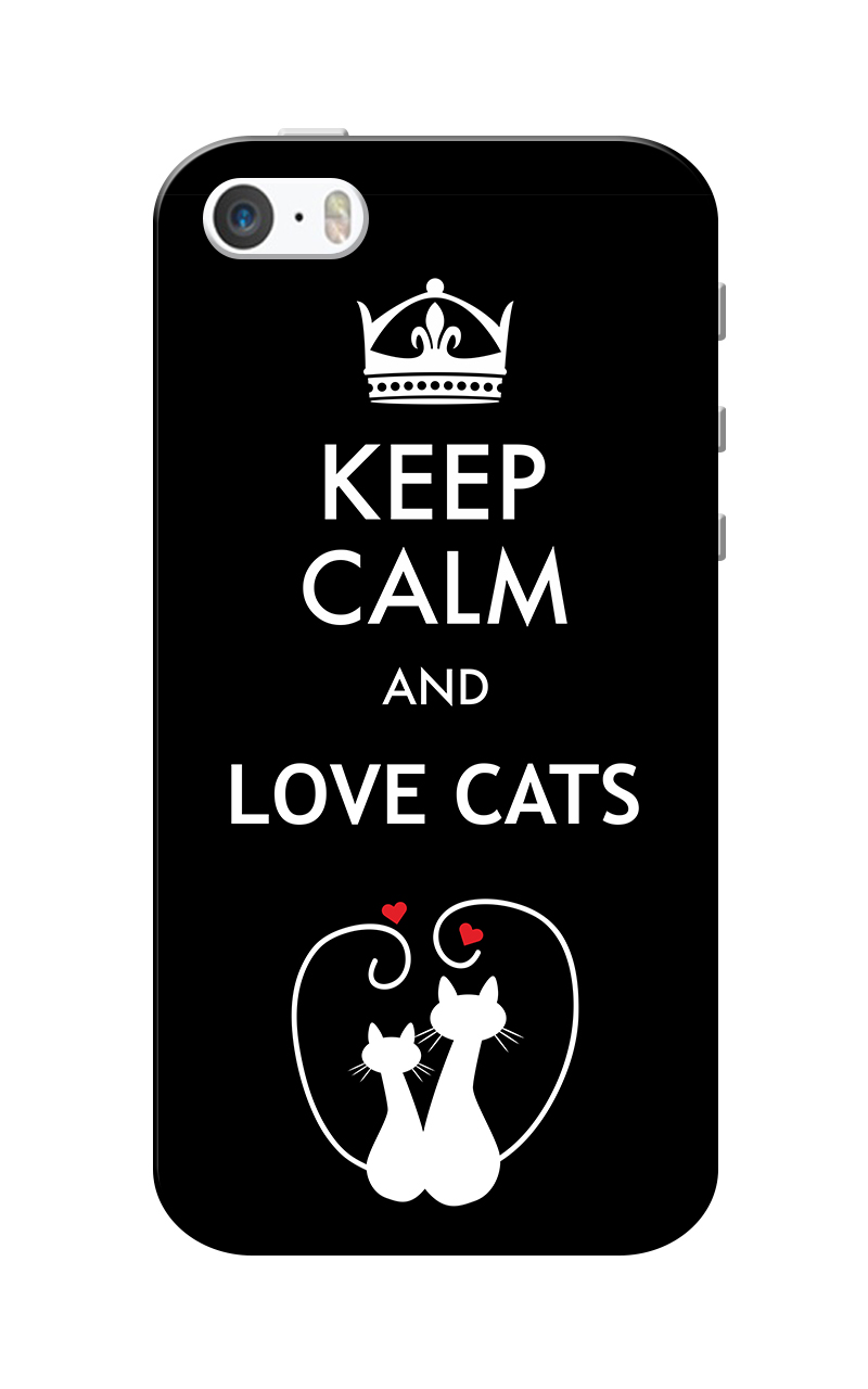 Caseria Love Cats Black Slim Fit Hard Case Cover for Apple iPhone 5/5s