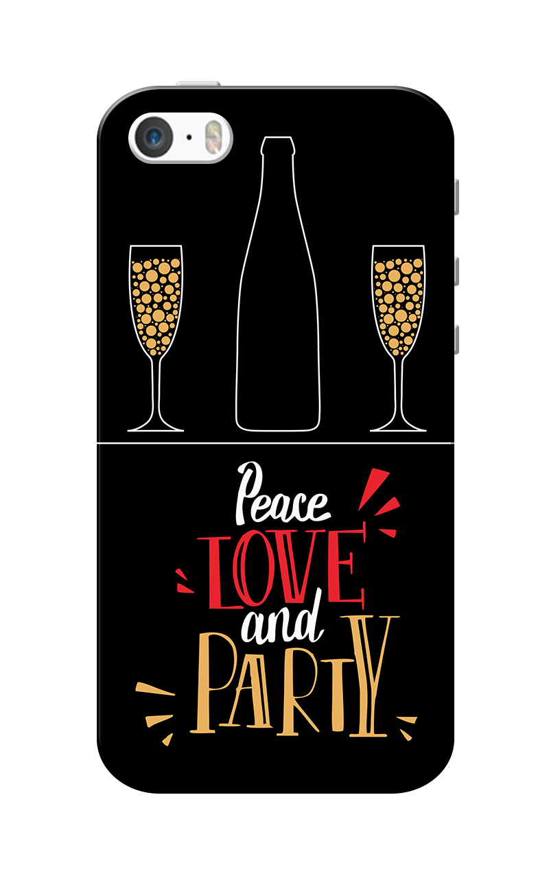 Caseria Love and Party Black Slim Fit Hard Case Cover for Apple iPhone 5/5s