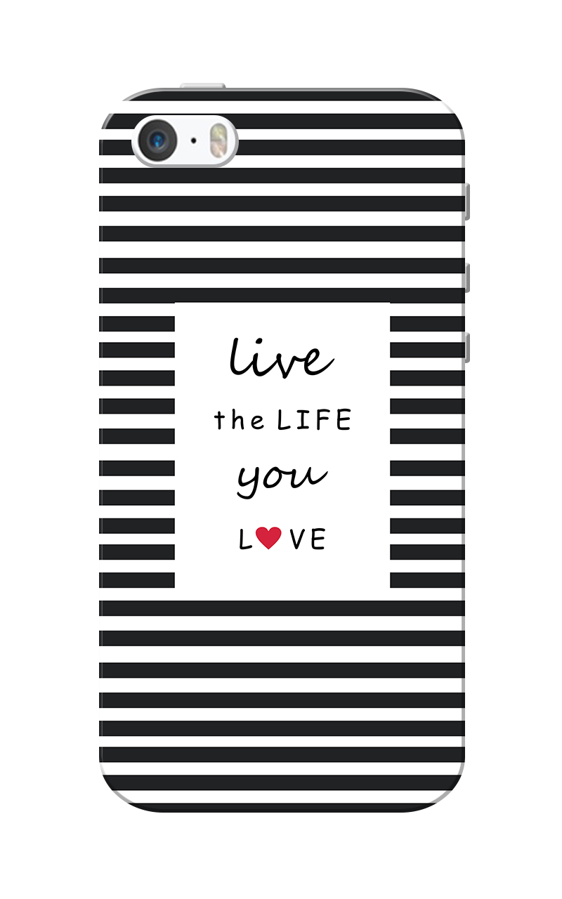 Caseria Live Life Black Slim Fit Hard Case Cover for Apple iPhone 5/5s
