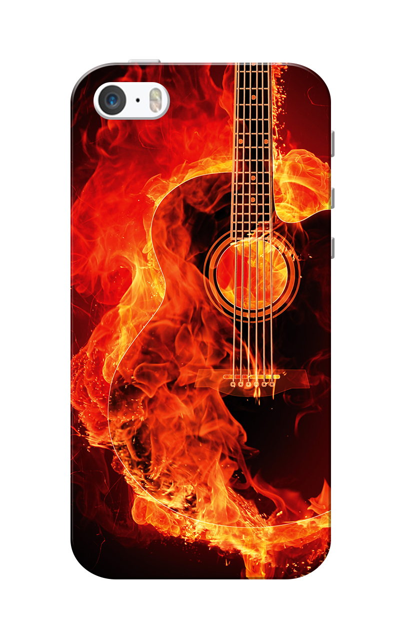 Caseria Burning Guitar Slim Fit Hard Case Cover for Apple iPhone 5/5s