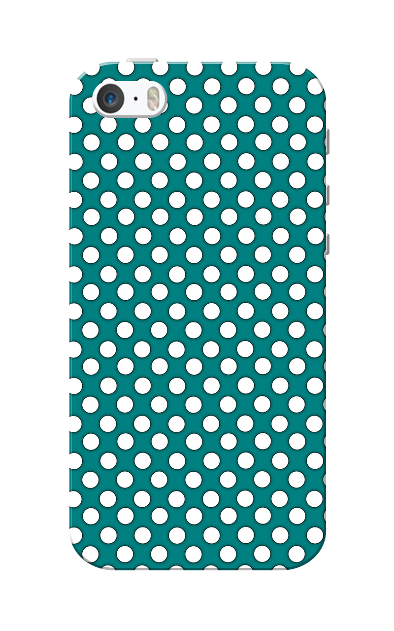 Caseria Small White Dotted Slim Fit Hard Case Cover for Apple iPhone 5/5s