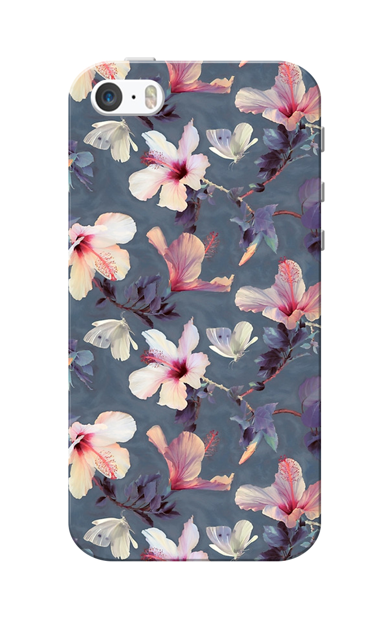Caseria Flower Dark Grey Slim Fit Hard Case Cover for Apple iPhone 5/5s