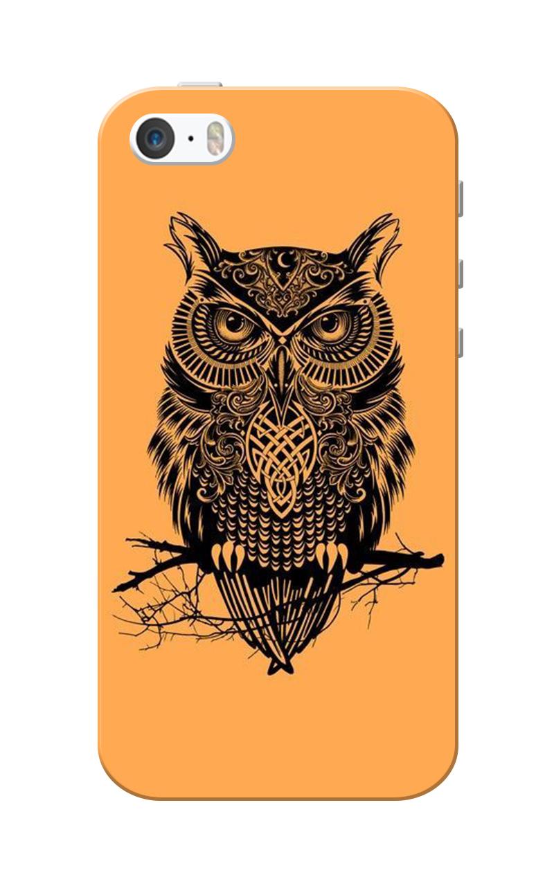 Caseria Owl Orange Slim Fit Hard Case Cover for Apple iPhone 5/5s