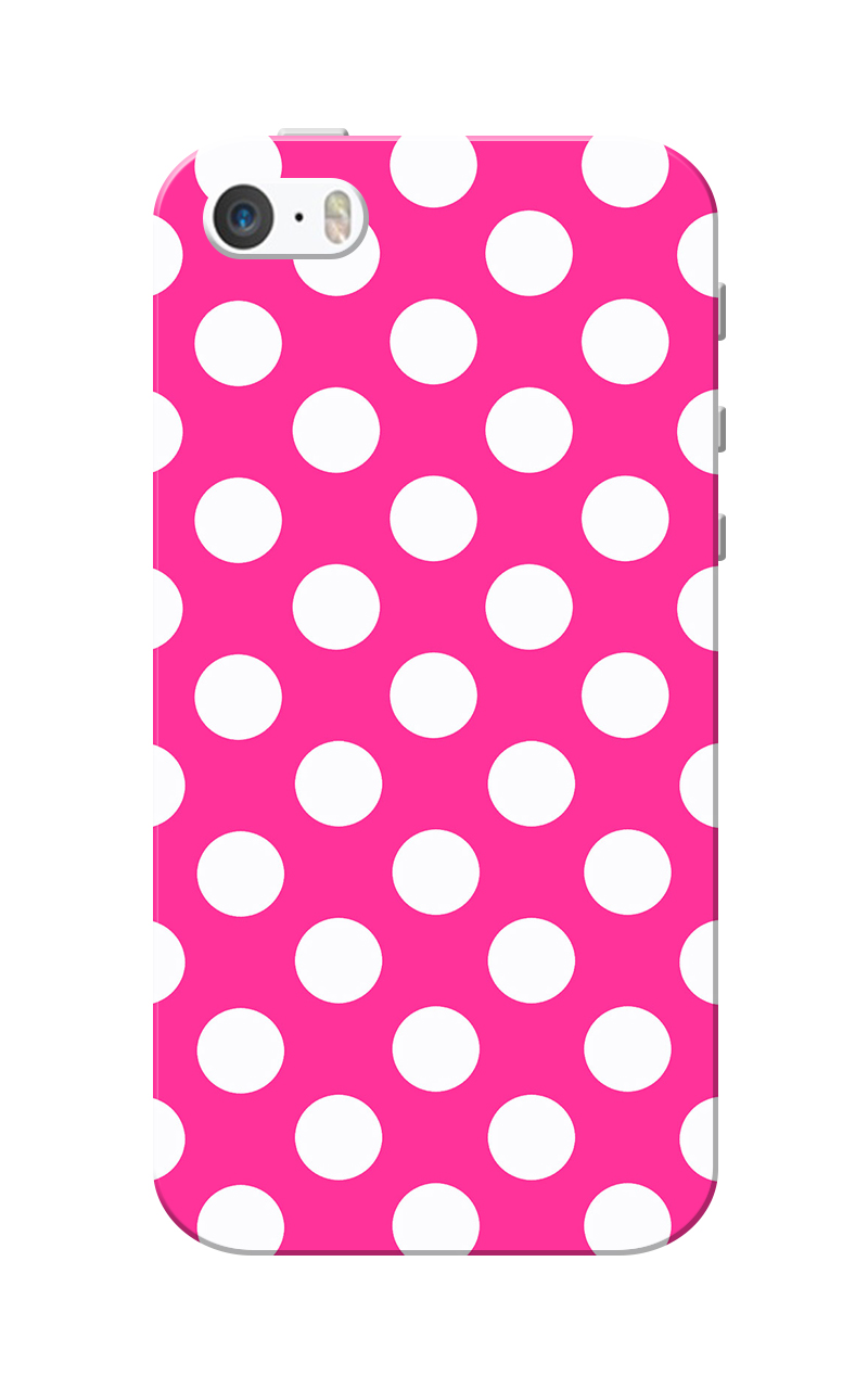 Caseria Medium White Dotted Slim Fit Hard Case Cover for Apple iPhone 5/5s