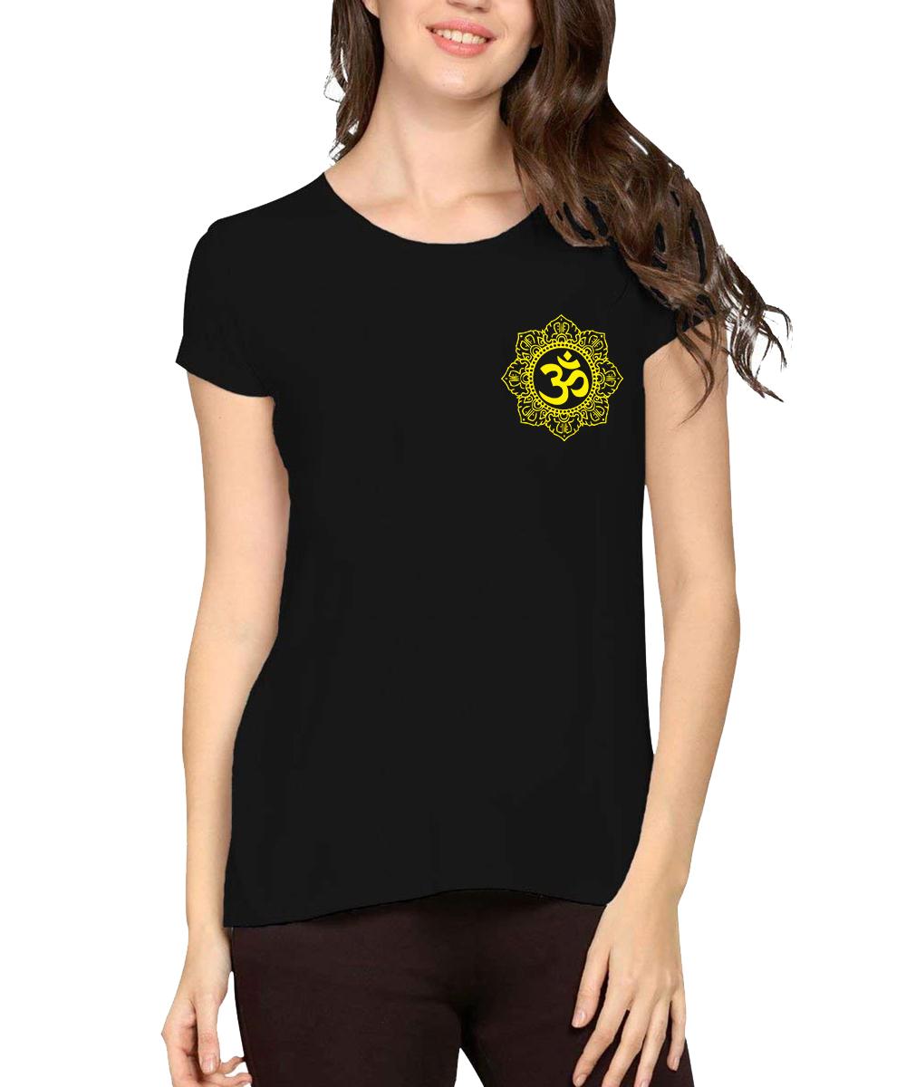 Caseria Women's Cotton Pocket Graphic Printed Half Sleeve T-shirt - Om Flower (Black, L)