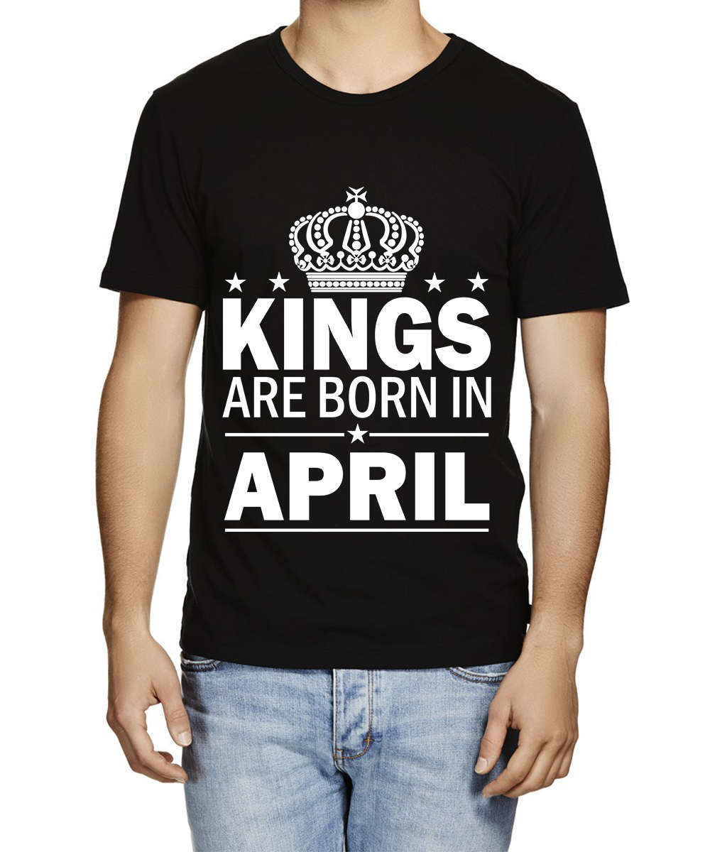 Caseria Men's Cotton Graphic Printed Half Sleeve T-Shirt - Kings are born in April Pattern (Black, Large)