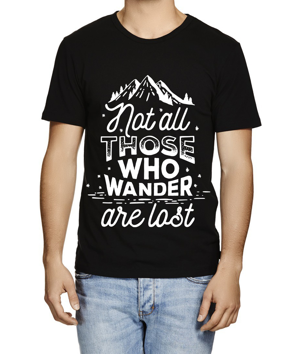 Caseria Men's Cotton Graphic Printed Half Sleeve T-Shirt - Not All those who wander are lost Pattern (Black, Large)