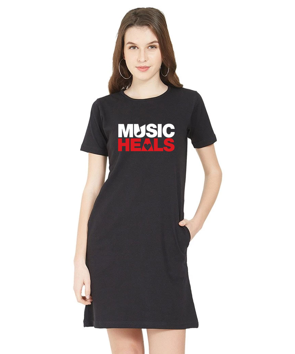 Caseria Women's Cotton Biowash Graphic Printed T-Shirt Dress - Music Heals Pattern (Black, L)