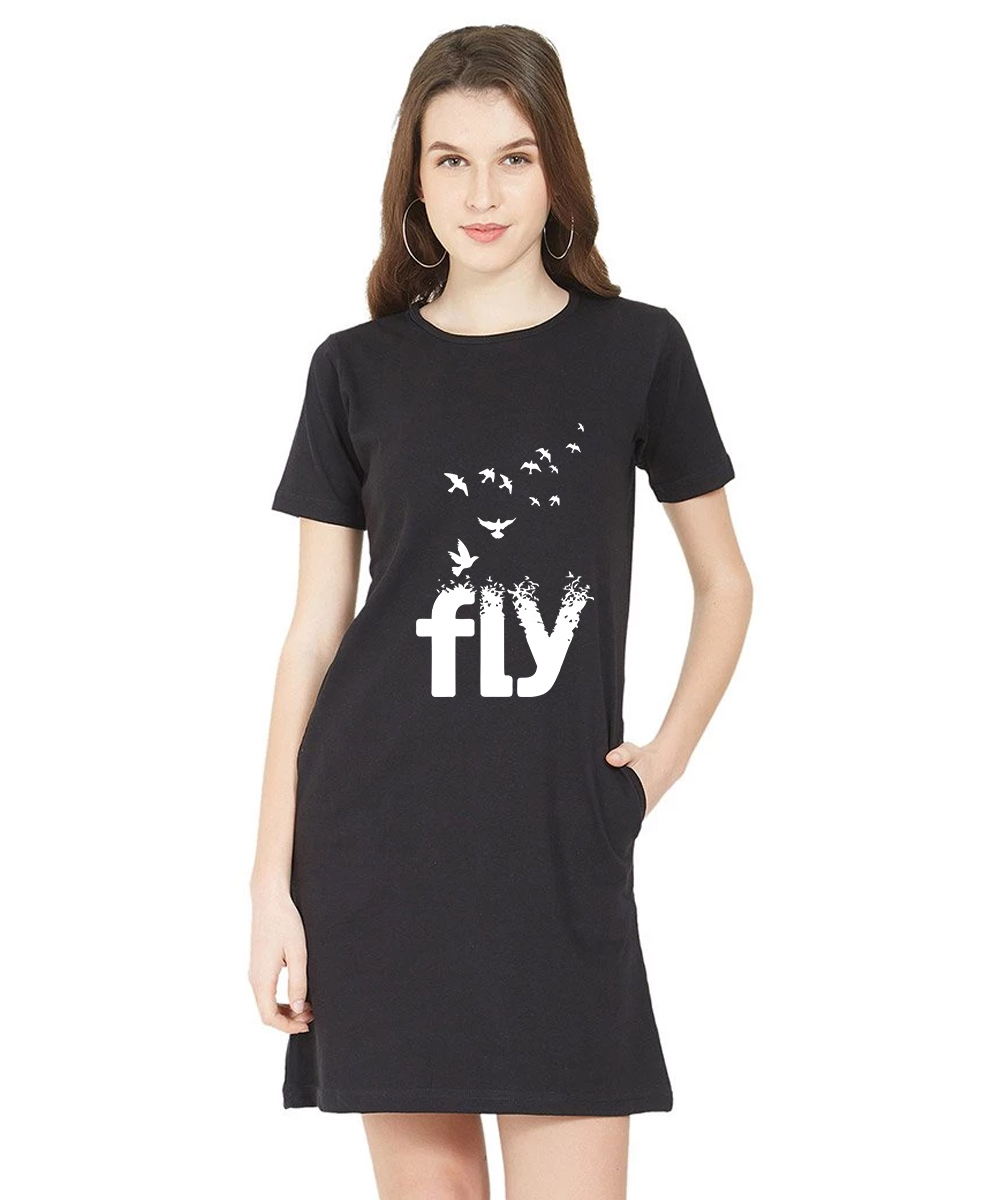 Caseria Women's Cotton Biowash Graphic Printed T-Shirt Dress - Fly Pattern (Black, L)