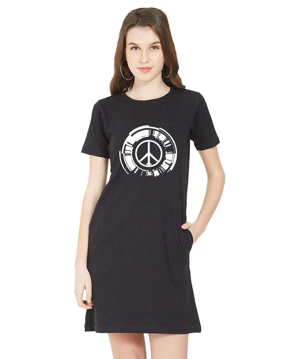 Caseria Women's Cotton Biowash Graphic Printed T-Shirt Dress - Peace (Black, L)
