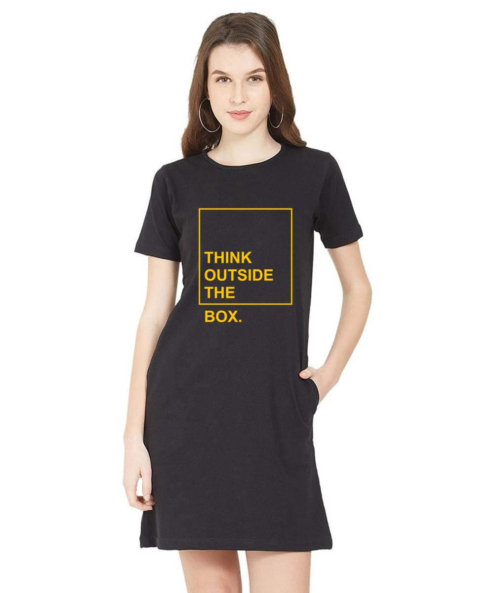 Caseria Women's Cotton Biowash Graphic Printed T-Shirt Dress - Outside The Box (Black, L)
