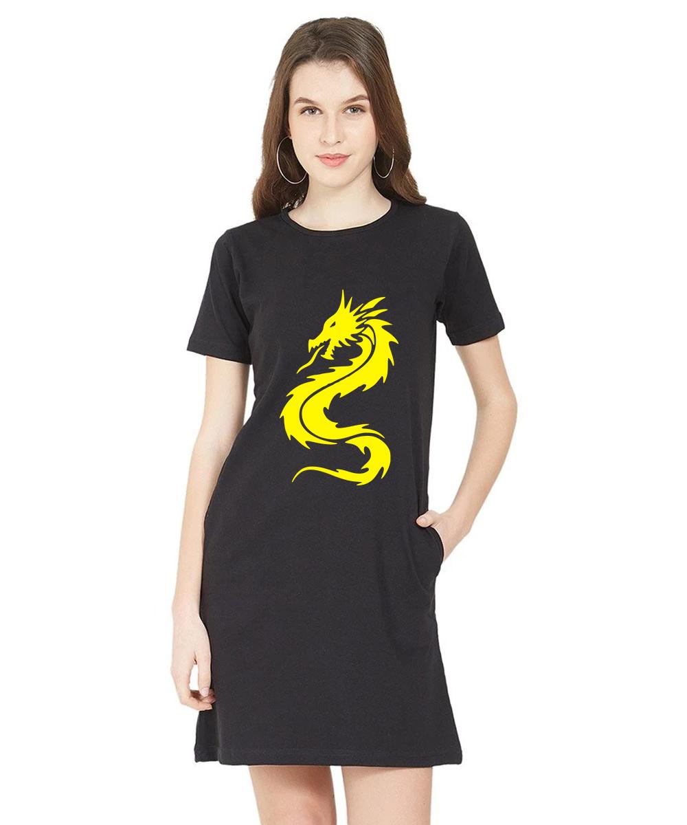 Caseria Women's Cotton Biowash Graphic Printed T-Shirt Dress - Chinese Dragon (Black, L)