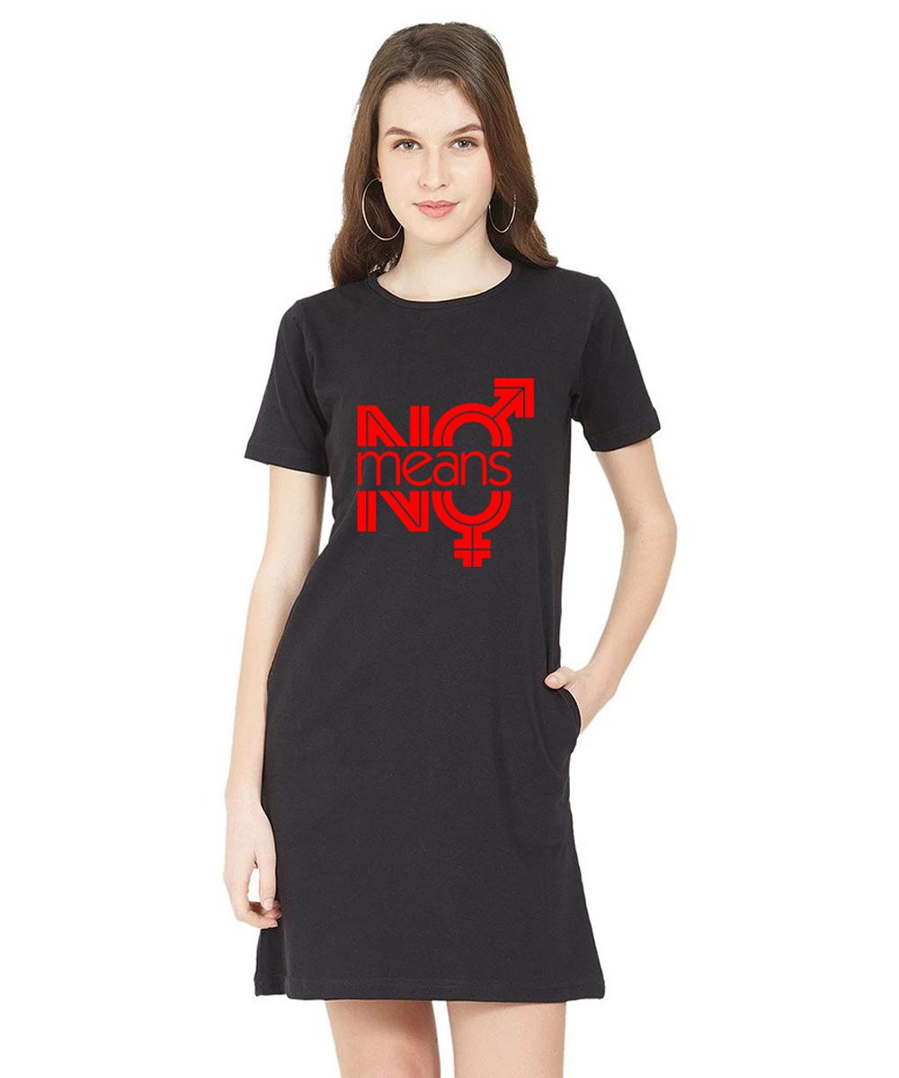 Caseria Women's Cotton Biowash Graphic Printed T-Shirt Dress - No Means No (Black, L)
