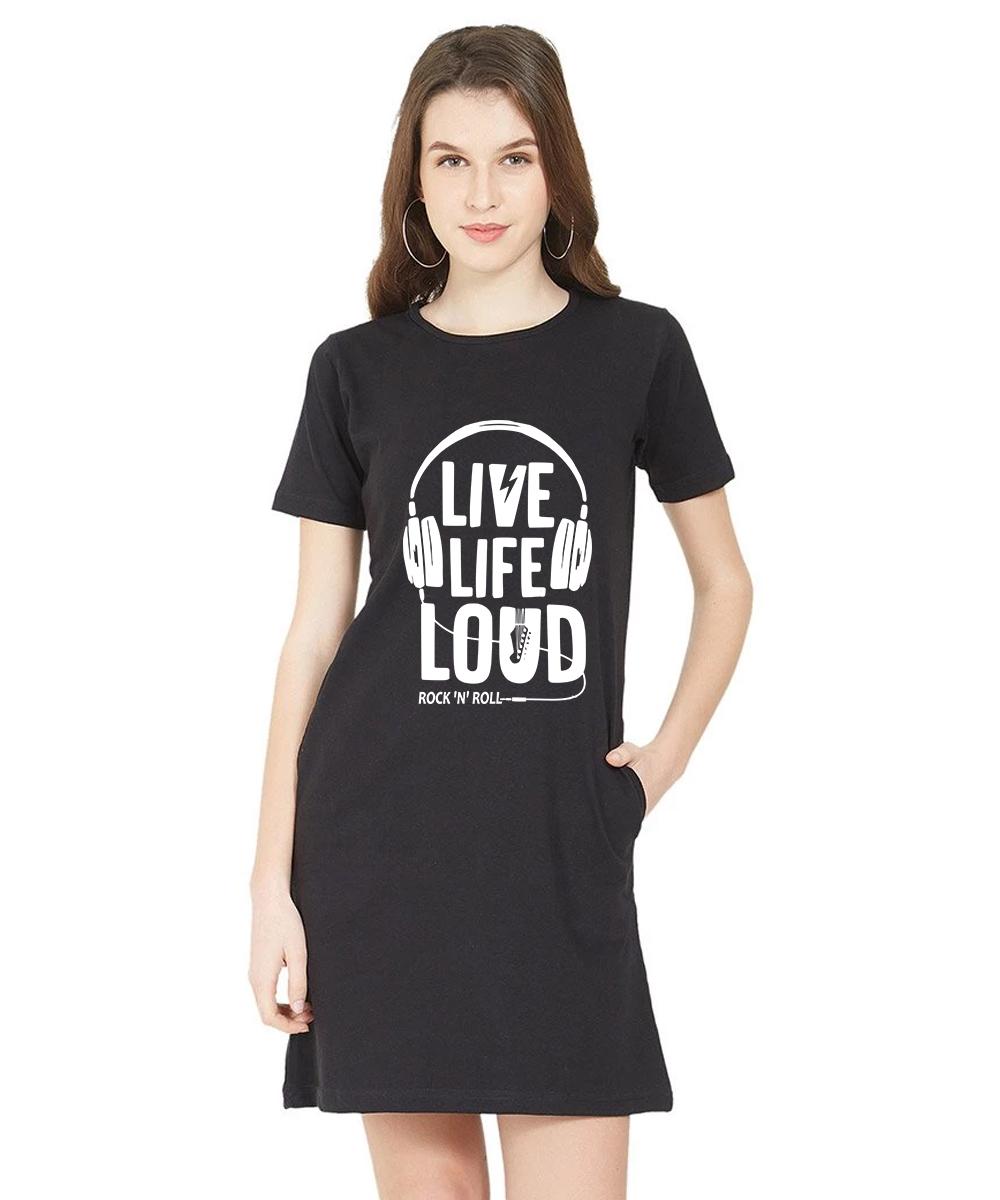 Caseria Women's Cotton Biowash Graphic Printed T-Shirt Dress - Live Life Loud (Black, L)