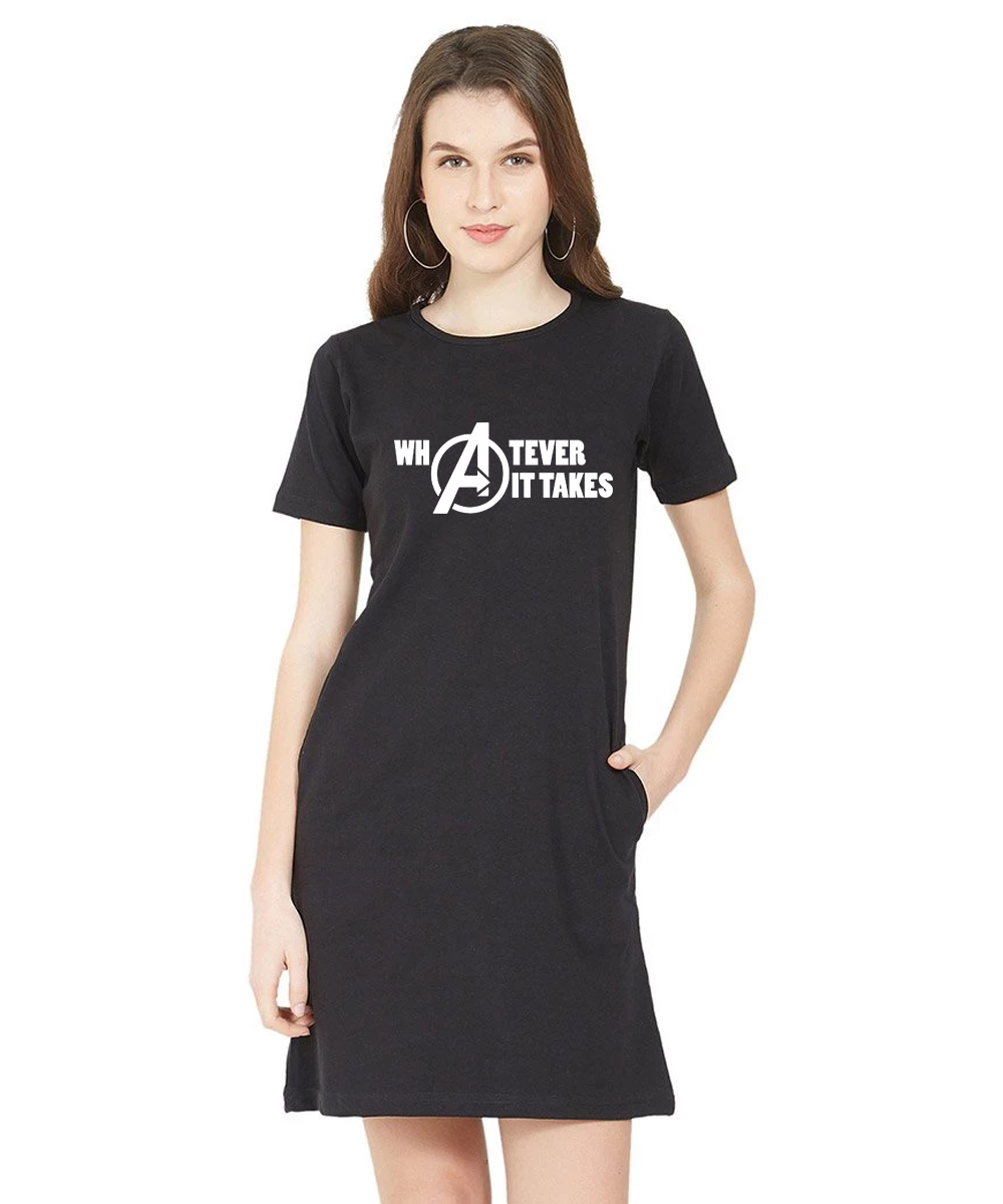 Caseria Women's Cotton Biowash Graphic Printed T-Shirt Dress - Whatever It Takes (Black, L)