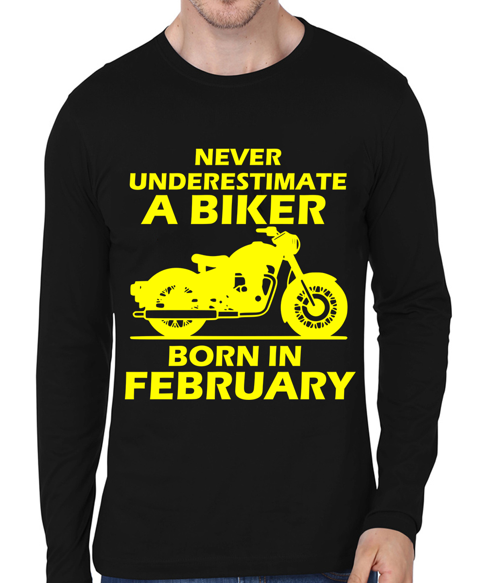 Caseria Men's Cotton Biowash Graphic Printed Full Sleeve T-Shirt - Biker Born In February (Black, L)