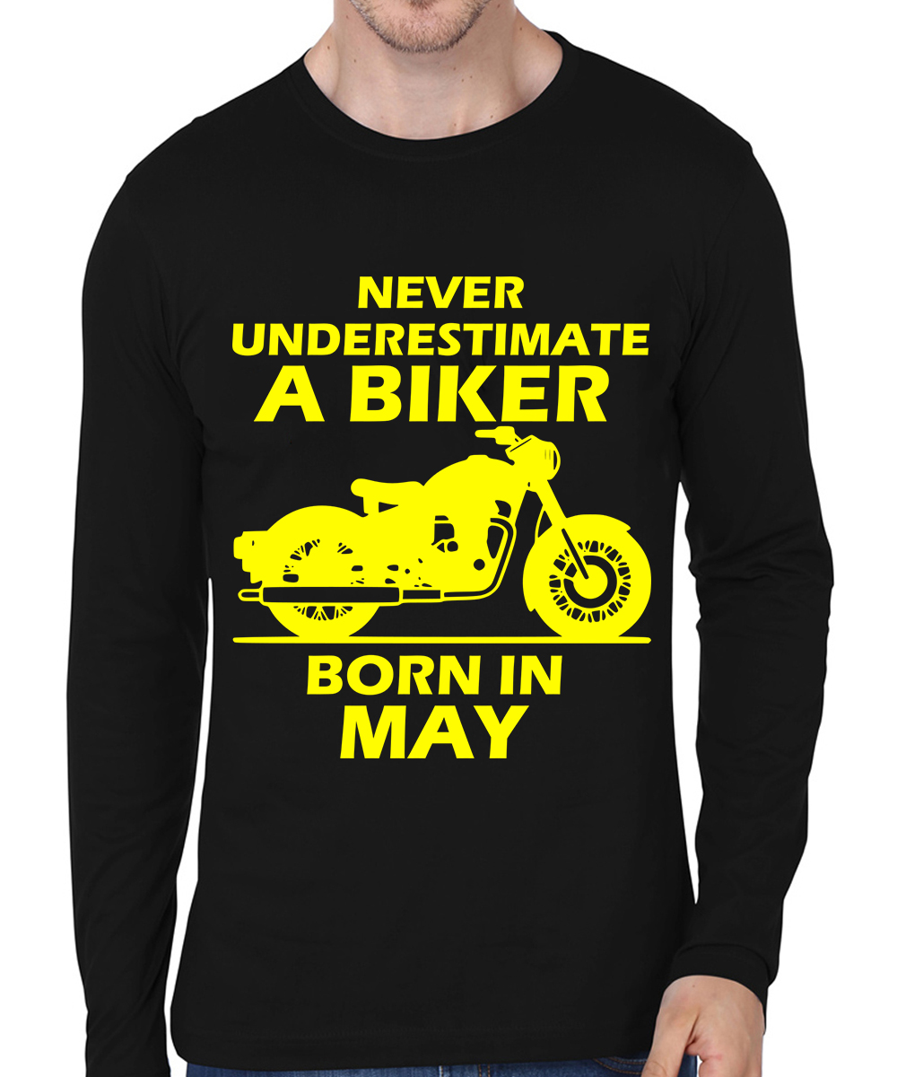 Caseria Men's Cotton Biowash Graphic Printed Full Sleeve T-Shirt - Biker Born In May (Black, L)