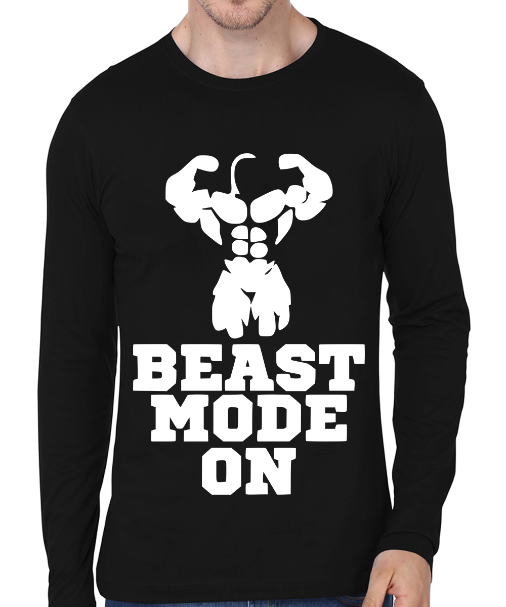 Caseria Men's Cotton Biowash Graphic Printed Full Sleeve T-Shirt - Beast Mode On (Black, L)