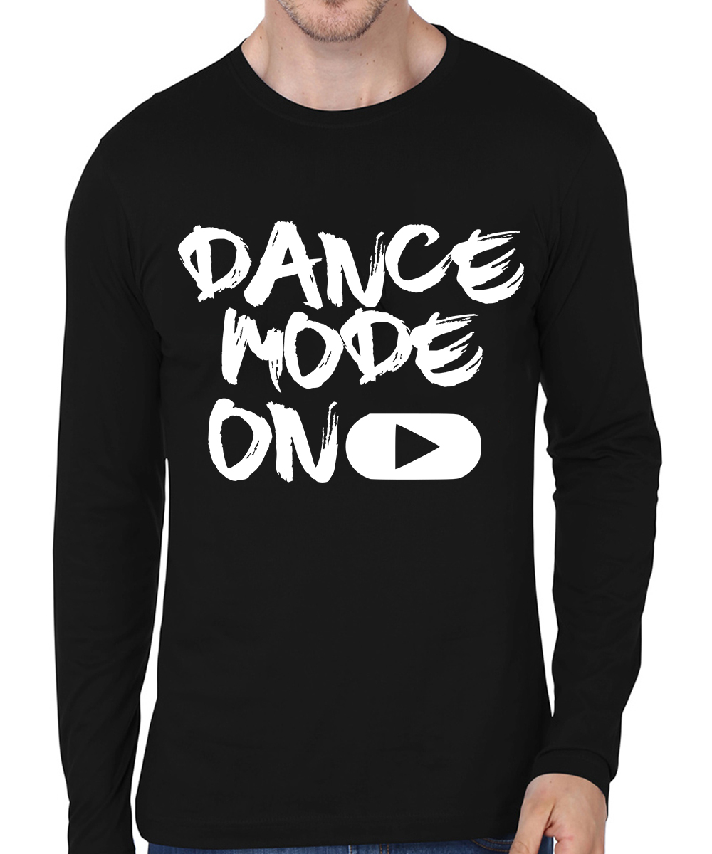 Caseria Men's Cotton Biowash Graphic Printed Full Sleeve T-Shirt - Dance Mode On (Black, L)