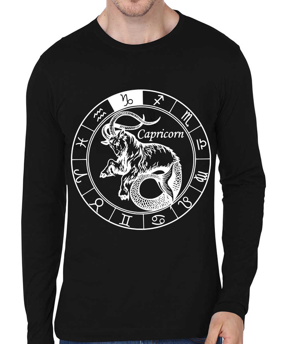 Caseria Men's Cotton Biowash Graphic Printed Full Sleeve T-Shirt - Capricorn (Black, L)