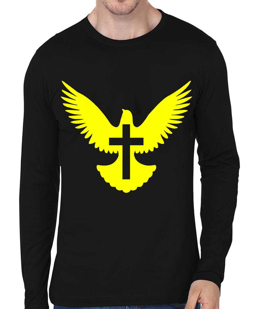 Caseria Men's Cotton Biowash Graphic Printed Full Sleeve T-Shirt - Bird Cross (Black, L)