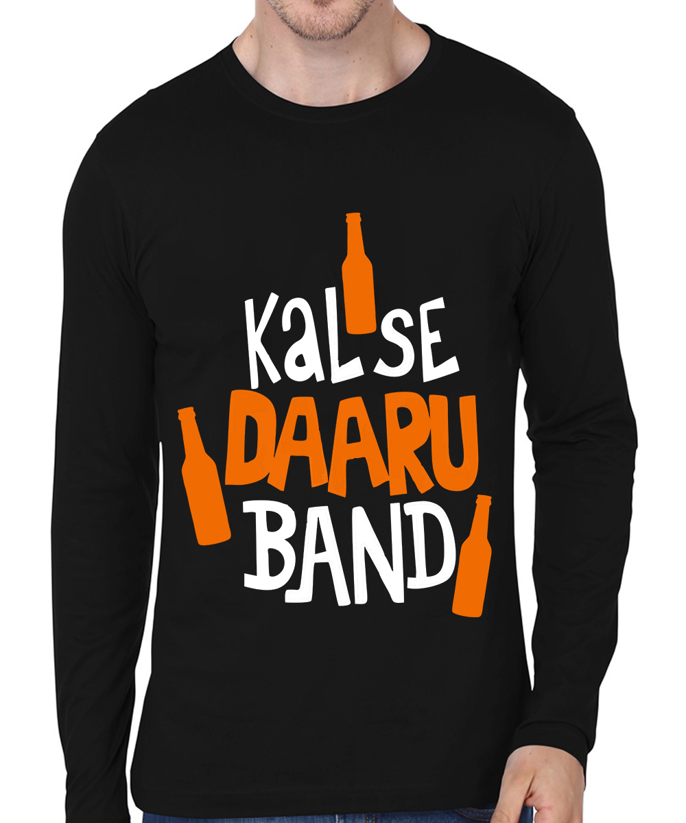 Caseria Men's Cotton Biowash Graphic Printed Full Sleeve T-Shirt - Kal Se Daaru Band (Black, L)