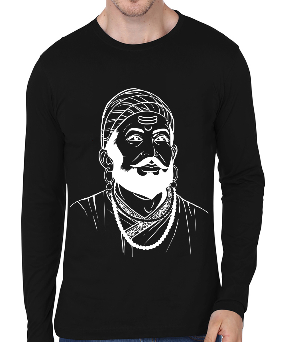 Caseria Men's Cotton Biowash Graphic Printed Full Sleeve T-Shirt - Chatrapati Shivaji Maharaj (Black, L)