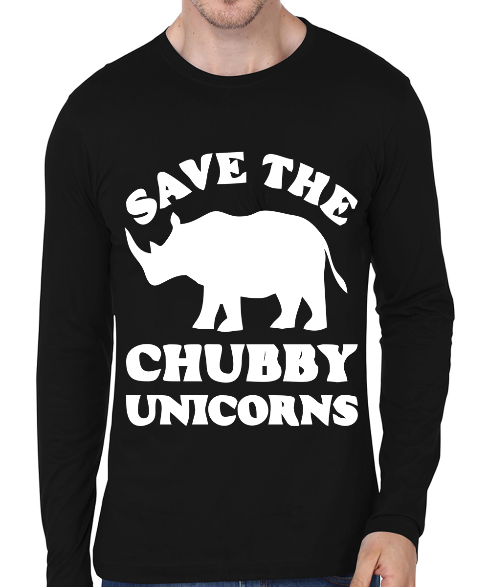 Caseria Men's Cotton Biowash Graphic Printed Full Sleeve T-Shirt - Chubby Unicorns (Black, L)