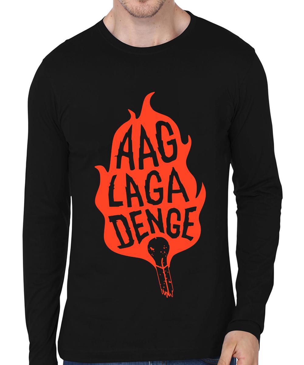 Caseria Men's Cotton Biowash Graphic Printed Full Sleeve T-Shirt - Aag Laga Denge (Black, L)