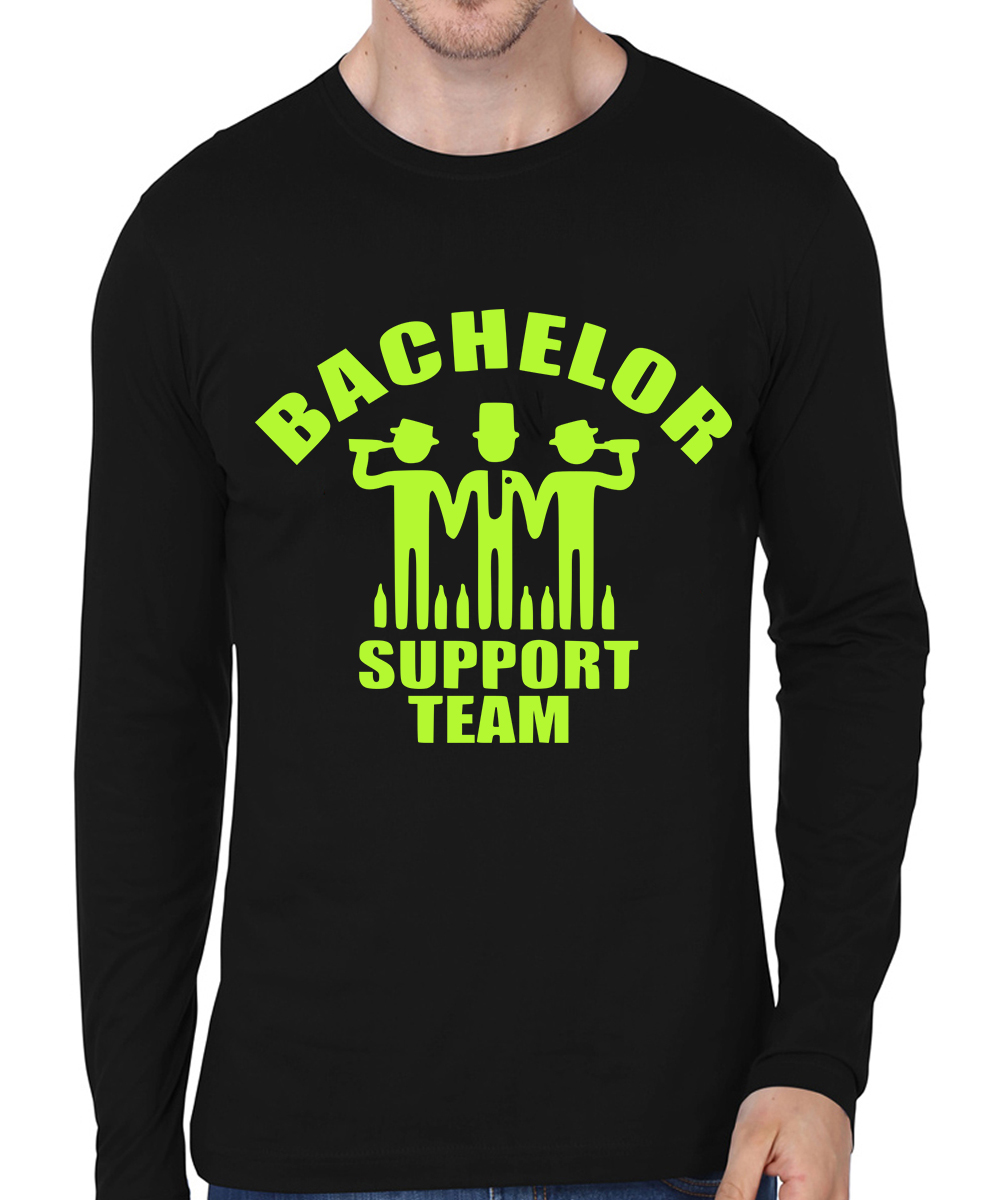 Caseria Men's Cotton Biowash Graphic Printed Full Sleeve T-Shirt - Bachelor Support Team (Black, L)